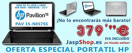 Oferta Portátil HP PAVILION 15-N057SS AMD DC E1-2500 1.4GHZ 4GB 500GB RAD HD 8240M 15.6 ¡No lo encontrarás más barato!