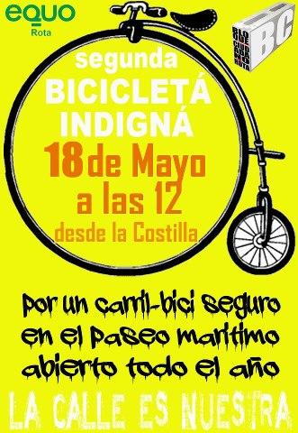 El Bloque Ciudadano de Rota y Equo organizan la 2ª Bicicletá Indigná  el sábado 18 de mayo